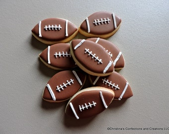 Mini football cookies - Decorated Sugar cookies for sports parties and birthdays  (#2207)
