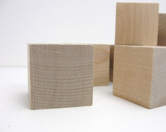 """1.5""""  wooden block,  1 1/2 inch wooden cube, wood block, unfinished wood cube set of 12"""