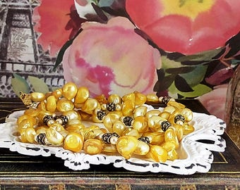 Handmade Gold Baroque Pearl Necklace