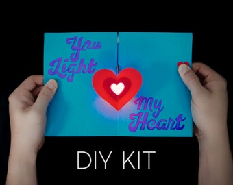 Heart Light-Up Card Kit - Love Card - DIY Card - Unique Card - Magic Card Kit - Valentine Card Kit - Paper Engineering - Paper Circuits Kit