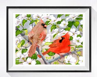 Bird Art Print, Cardinal Art Print, two birds in tree, Bird illustration, Bird Drawing, Spring Flowers, watercolor painting, LaBerge
