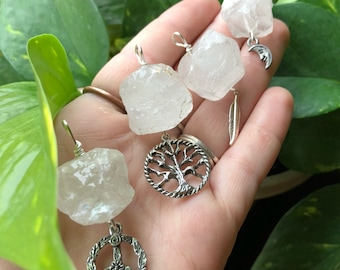 Quartz Chunk and Charm Necklaces