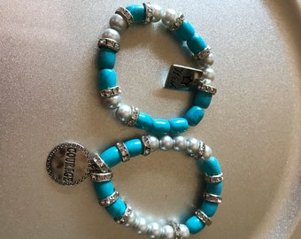 Turquoise and Silver  Bracelets with Charms    Item #0116