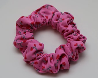 Scrunchies for hair, pink with strawberry, scrunchies, elastic