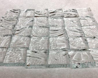 """CRYSTAL FLOWER """"ICE"""" 1/2"""" Textured Glass Mosaic Tile Supply i-2"""