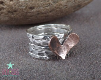 New design Sterling silver textured stacking band ring set with funky fun whimsical copper heart mixed metal jewelry jewellery stackable