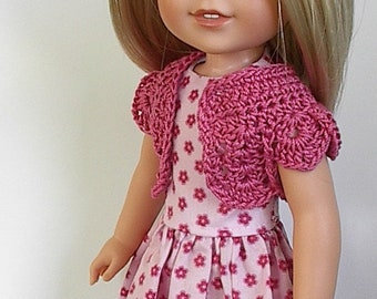 "14.5"" Doll Clothes Sleeveless Cotton Dress and Crocheted Bolero Shrug Handmade to fit Wellie Wishers Dolls - Pink and Darker Pink Flowers"