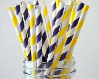 50 Purple and Yellow Paper Straws, Stripe Purple Straws, LSU Tailgate Party,Cake Pops, Purple Weddings, Purple baby shower, DIY Flags