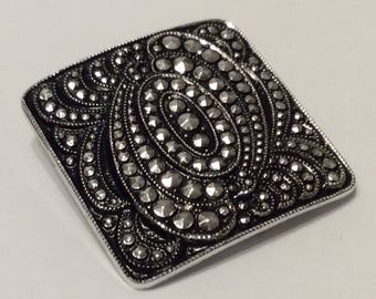 Vintage Square Marcasite Silver Tone Clip Signed Western Germany Sweater Dress Scarf Accessory