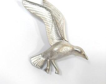 Bird Brooch Vintage Bird Silver Tone Brooch, Large Bird Pin, Vintage Bird Brooch, Animal Brooch, Vintage Brooch