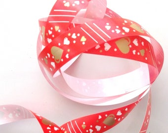BOLDUC EMBALAGE gifts x 10 m - hearts red and gold REF. 2421