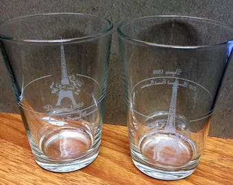 Rare Eiffel Tower Drinking Glasses