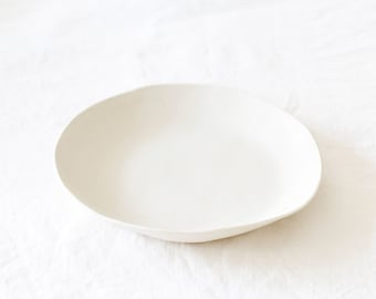 Handmade White Ceramic Shallow Bowl