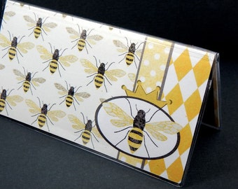 Checkbook Cover - Queen Bee - modern honey and ivory bee themed check book holder - women's accessories