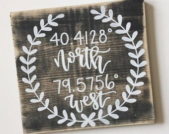 Longitude Latitude Sign | Coordinate Sign | Coordinates | Wood Sign | Coordinates Sign