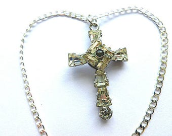 Vintage CZ STERLING Silver Cross, 925 Sterling Crystal Cross & Neck Chain, Hallmarked Sterling Necklace, Cross Necklace, Estate Jewelry
