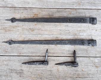 Blacksmith made English antique strap hinges