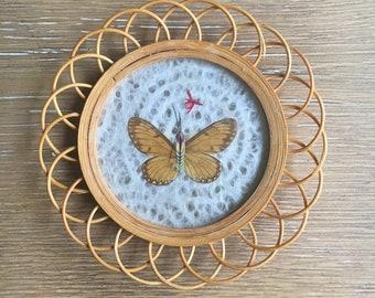 Butterfly Wicker Coasters | Set of 4 Vintage Butterfly Coasters | 1970s Bamboo Coasters | Pressed Butterflies | Barware Vintage Coasters