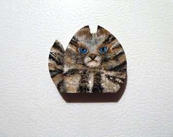 Cat magnet, Cute cat, Mother's Day, Mini card included, Wooden magnet, Blue eyed cat, Stripped Cat, Calico cat, Tortie cat, Unique gift,