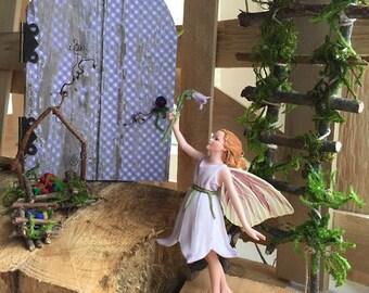 Fairy Garden ~ Garden Fairy with Handcrafted Miniature Bouquet by Olive ~ Fairy Garden