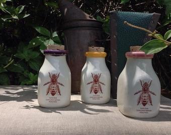 Ceramic Milk Bottle, Handmade Milk Bottle, Vintage Honeybee illustration, Beekeeper Milk Bottle, Ceramic Honey Bottle, Ceramic Cork Jar