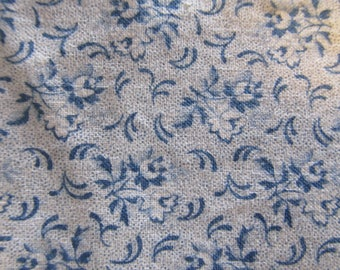 Free Shipping! Blue and White Calico. 1/2 Yard. 17087