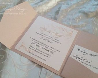 Rose gold invitation with gold glitter. Blush gold wedding invite. GLITTER wedding. Pink Glittery invitation suite. Wedding Invites in set