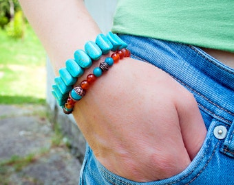 Women turquoise jewelry, boho bracelet,turquoise bracelets, gemstone bracelet, turquoise jewelry,Stretch bracelet, Yoga bracelet, Gift Woman