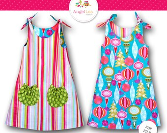 Tie Top Dress Pattern. Girls Dress Pattern. PDF Sewing Pattern and Tutorial for Eva Dress, Reversible, Instant Download Digital Pattern