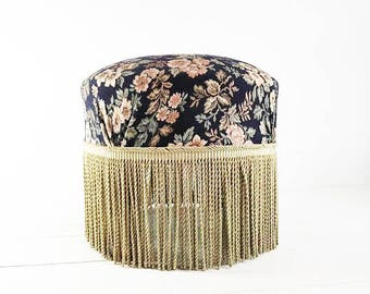 Vanity Chair Stool, Boudoir Chairs, Boudoir Furniture, Vanity Seat, Pouf Chair, Gold Fringe, Vanity Stool Gold, Vanity Chair Upholstered,