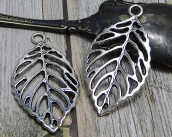 2pcs - 51x27mm - Leaf Pendant - Silver Pendants - Metal Charms - Metal Pendant - Filigree Pendant - (3093)