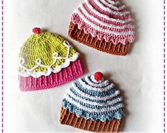 Crochet CUP CAKE Hat PDF Pattern Sizes Newborn to Adult Boutique Design - No. 32 by AngelsChest