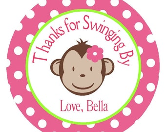 Monkey Personalized Girl's Birthday Party Circles/Printable Digital File/Tags/Favor Tags/Card Embellishments/ Decorations
