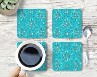 Turquoise drink Coaster, Snowflakes coaster, Cork Back Coaster, Bar Accessories, Square coaster, Beverage Coasters, Hostess gift, CRdp044-11