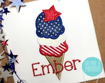 Girl's Fourth of July Shirt / 4th of July applique / Ice Cream Applique / Girl Red White Blue Shirt / First 4th of July / Patriotic Shirt