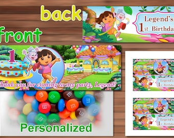 Dora the Explorer Favor Bag Toppers, Personalized Printable PDF