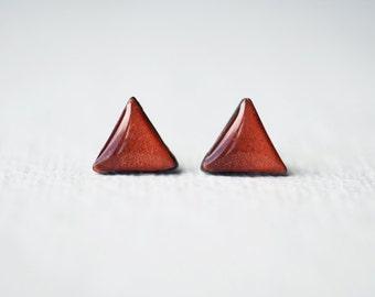 Geometric Triangle Copper Stud Earrings - Simple Everyday Modern Studs BUY 2 GET 1 FREE