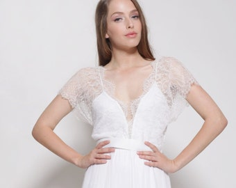 Bohemian lace wedding dress,open back wedding dress, simple wedding dress, sleeves wedding dress