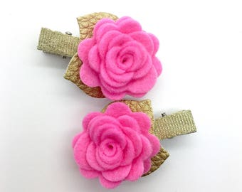 2pcs Felt Flowers Hair Clips Valentines Hair Clips Toddler Hair Clip Girl Flowers Clip