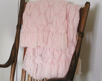 Pink Baby Afghan, Baby Girl Shawl, Pale Pink Blanket, Handknitted Diamonds Forever Fringed Baby Wrap