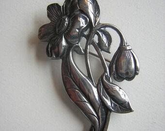 Vintage Floral Pin Art Nouveau Vintage STERLING SILVER