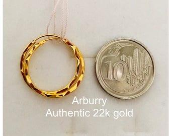 Solid 22k gold diamond cut bali earrings earrings 916 gold