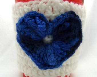 Coffee cozy heart white and blue
