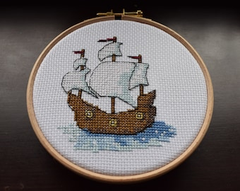 Pirate ship cross stitch pattern, ship cross stitch chart, counted cross stitch chart, cross stitch pattern PDF, instant download