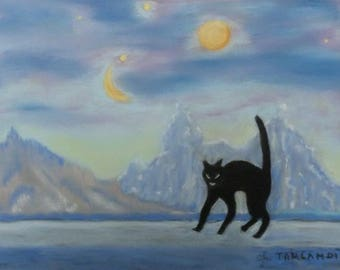 Black alien cat on moonscape pastel painting Chalk Art Wall decoration