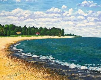 "Original Vintage Impressionist Landscape Oil Painting ""P.S. Waves"" 24x34"