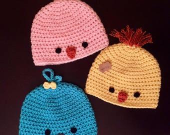Crochet baby chick hat, crochet baby bird hat, Easter hat, spring baby hat, blue bird hat, yellow chick hat, baby birdie hat, 3 months