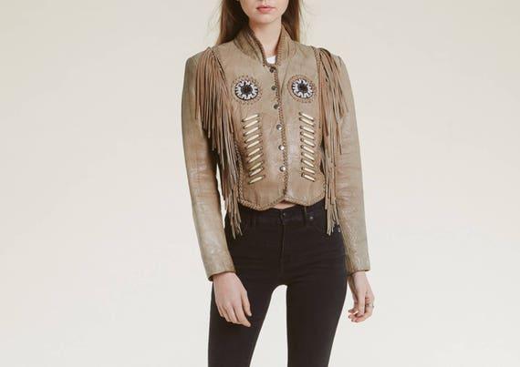 vintage native inspired fringe jacket