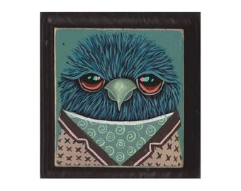 Original Painting- Blue Tweety #32 - bird with clothes - SPECIAL 3 for 88 (read description for details) artist Marisa Ray