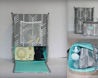 Half size Ella style Breast Pump Bag in Gray Arrows print with zipper top closure